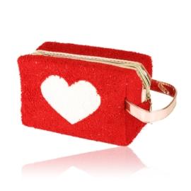 Kosmetyczka pluszowa z sercem - czerwona - KOS138