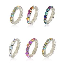 Pierścionki kryształkowe na gumce 12szt PIER146
