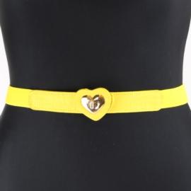 Pasek na gumie z serduszkiem - yellow BL325