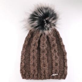 Czapka zimowa z pomponem - brązowa - CD499
