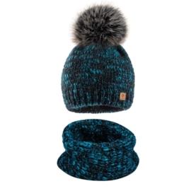 Komplet zimowy czapka komin wełna owcza KZ39