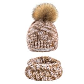 Komplet zimowy czapka komin wełna owcza KZ40