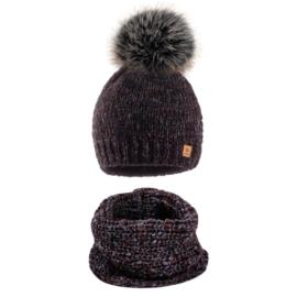 Komplet zimowy czapka komin wełna owcza KZ42