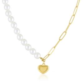 Naszyjnik perełkowy z sercem Aisadi CP5500
