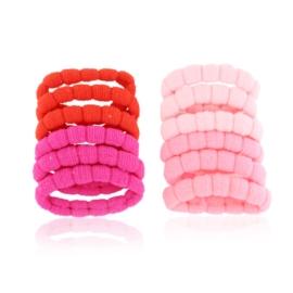 Gumki do włosów różowe karbowane 12szt OG1107