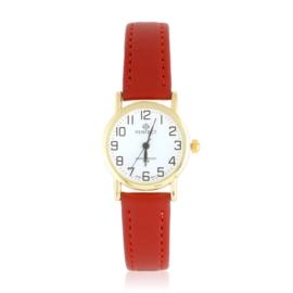 Zegarek skórzanym pasku - czerwony Z2307