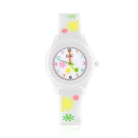 Zegarek dziewczęcy w kwiatki - biały Z2366