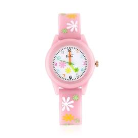 Zegarek dziewczęcy w kwiatki - różowy Z2367
