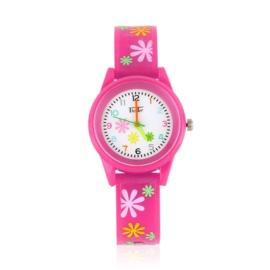 Zegarek dziewczęcy w kwiatki - różowy Z2368