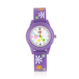 Zegarek dziewczęcy w kwiatki - fioletowy Z2369