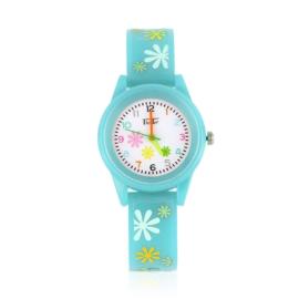 Zegarek dziewczęcy w kwiatki - niebieski Z2370