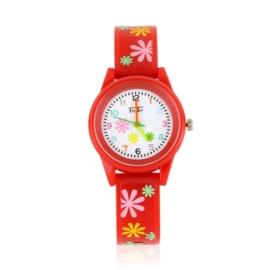 Zegarek dziewczęcy w kwiatki - czerwony Z2371