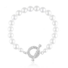 Bransoletka czeskie perły toggle 18cm BRA3437