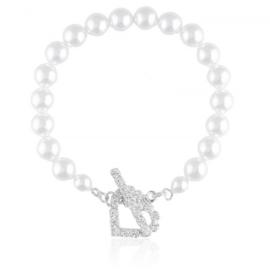Bransoletka czeskie perły toggle 18cm BRA3438