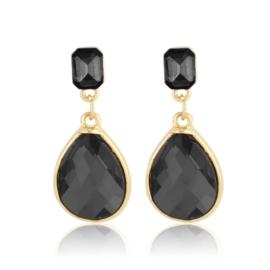 Kolczyki wiszące kryształki czarne EA3907