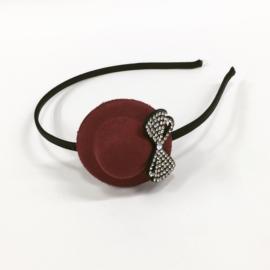 Opaska kapelusz - bordowa - OPS882