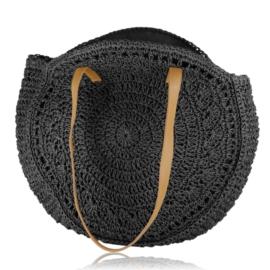 Torebka shopper pleciona 44x39cm - czarna TD691