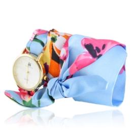 Zegarek damski na błękitnej apaszce Z2497
