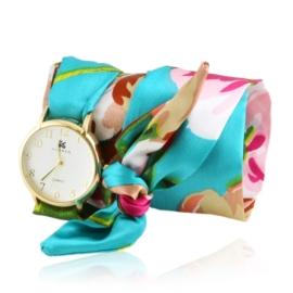 Zegarek damski na zielonej apaszce Z2498