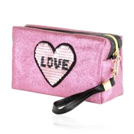 Kosmetyczka damska glitter LOVE - KOS191