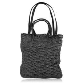 Torebka shopper pleciona 40x37cm - czarna TD705