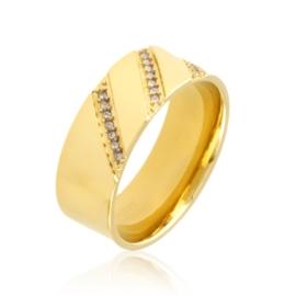Obrączka stalowa z kryształkami Xuping PP3213