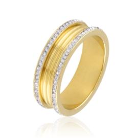 Obrączka stalowa z kryształkami Xuping PP3215