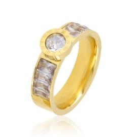 Pierścionek stalowy z kryształkami Xuping PP3216