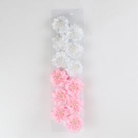 Gumeczki kwiatki white pink 12szt/op OG1267