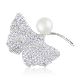 Broszka z kryształkami i perełką - Xuping BR61