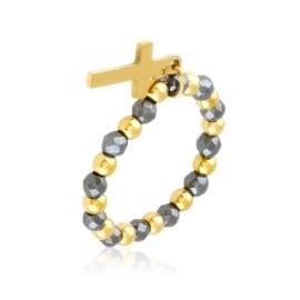 Pierścionek na gumce z koralików krzyżyk PP3314