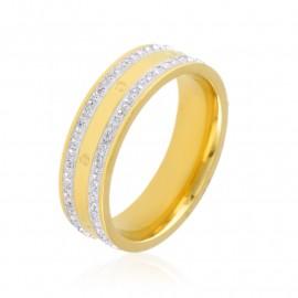 Obrączka stalowa z kryształkami Blueberry PP3310