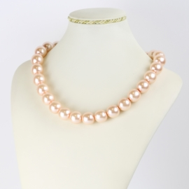 Naszyjnik perłowy czeski 45cm różowy NA2365