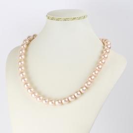 Naszyjnik perłowy czeski 50cm różowy NA2365