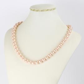 Naszyjnik perłowy czeski 50cm różowy NA2368