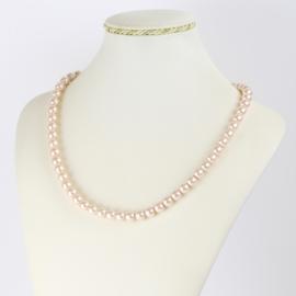 Naszyjnik perłowy czeski 50cm różowy NA2369