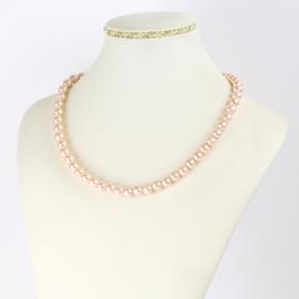 Naszyjnik perłowy czeski 50cm różowy NA2371