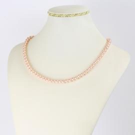 Naszyjnik perłowy czeski 45cm różowy NA2372