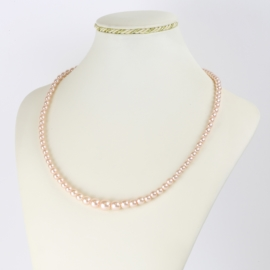 Naszyjnik perłowy czeski 50cm różowy NA2373