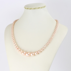Naszyjnik perłowy czeski 50cm różowy NA2374