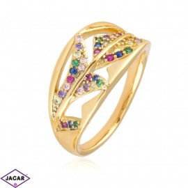 Pierścionek kolorowe kryształki - Xuping PP2485