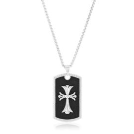 Naszyjnik stalowy 70cm krzyż CP6609
