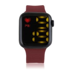 Zegarek damski sylikonowy LED bordowy - Z2685