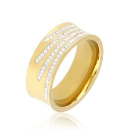 Obrączka stalowa z kryształkami Xuping PP3408
