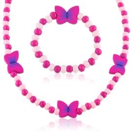 Komplet biżuterii motylki mix 12szt/op - KOM519