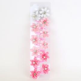 Spinki pyki kwiatki róż biały 12szt OS1257