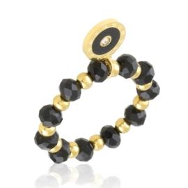Pierścionek na gumce z koralików Blueberry PP3633