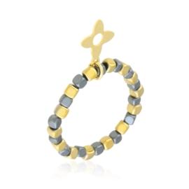 Pierścionek na gumce z koralików Blueberry PP3641