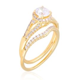 Pierścionek z kryształkami 2w1 Xuping PP3654
