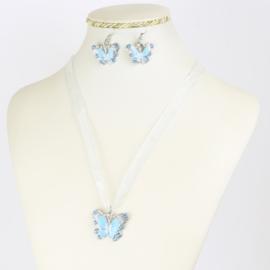 Komplet biżuterii - motylek - KOM559